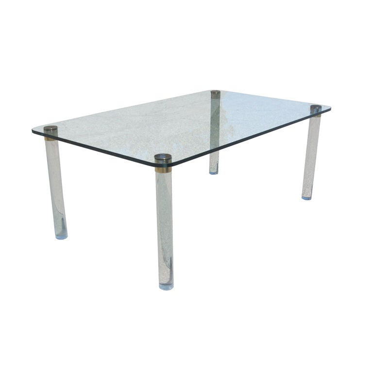 Marco Zanuso Lucite and Brass Dining Table For Sale at 1stdibs