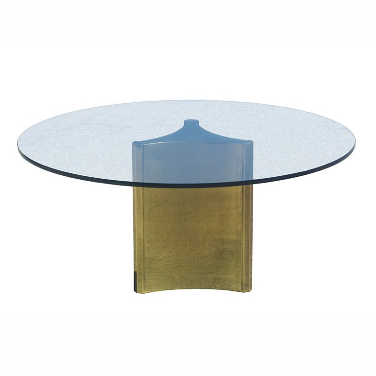 Mastercraft Brass And Glass Pedestal Dining Table At 1stdibs
