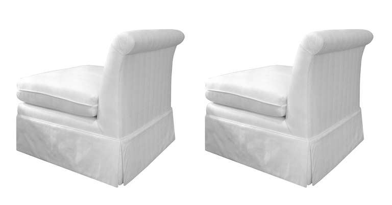 Charmant Mid Century Modern Pair Of Glamorous Slipper Chairs In The Billy Baldwin  Style For Sale