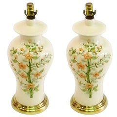 Pair of Porcelain and Brass Lamps with Floral Motif by Eddy Chulick