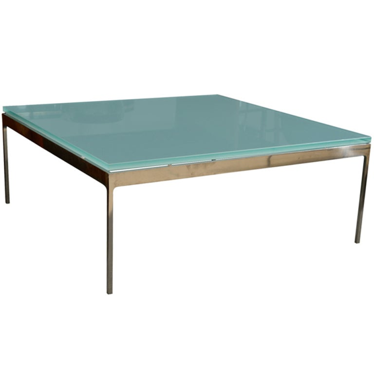 Square Coffee Table By Nicos Zographos Frosted Glass And Nickel At 1stdibs