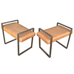 Pair of Charles Hollis Jones Benches in Solid Brass, Signed and Dated