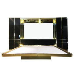 1970s King-Size Bedroom Set in Brass and Black Mirrored Glass by Mastercraft