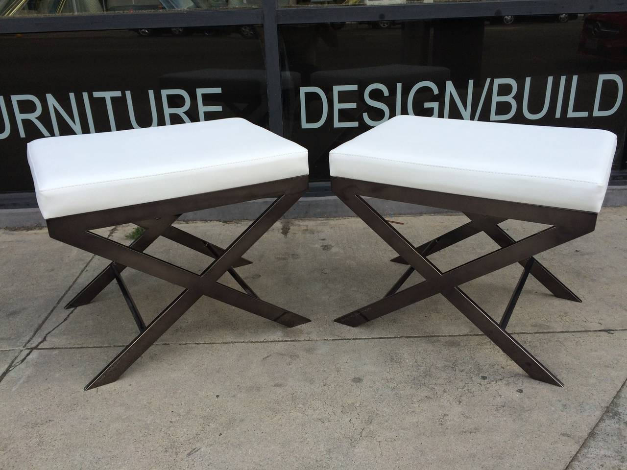 "American Two ""X"" Frame Benches by Charles Hollis Jones in Black Nickel, Signed and Dated For Sale"