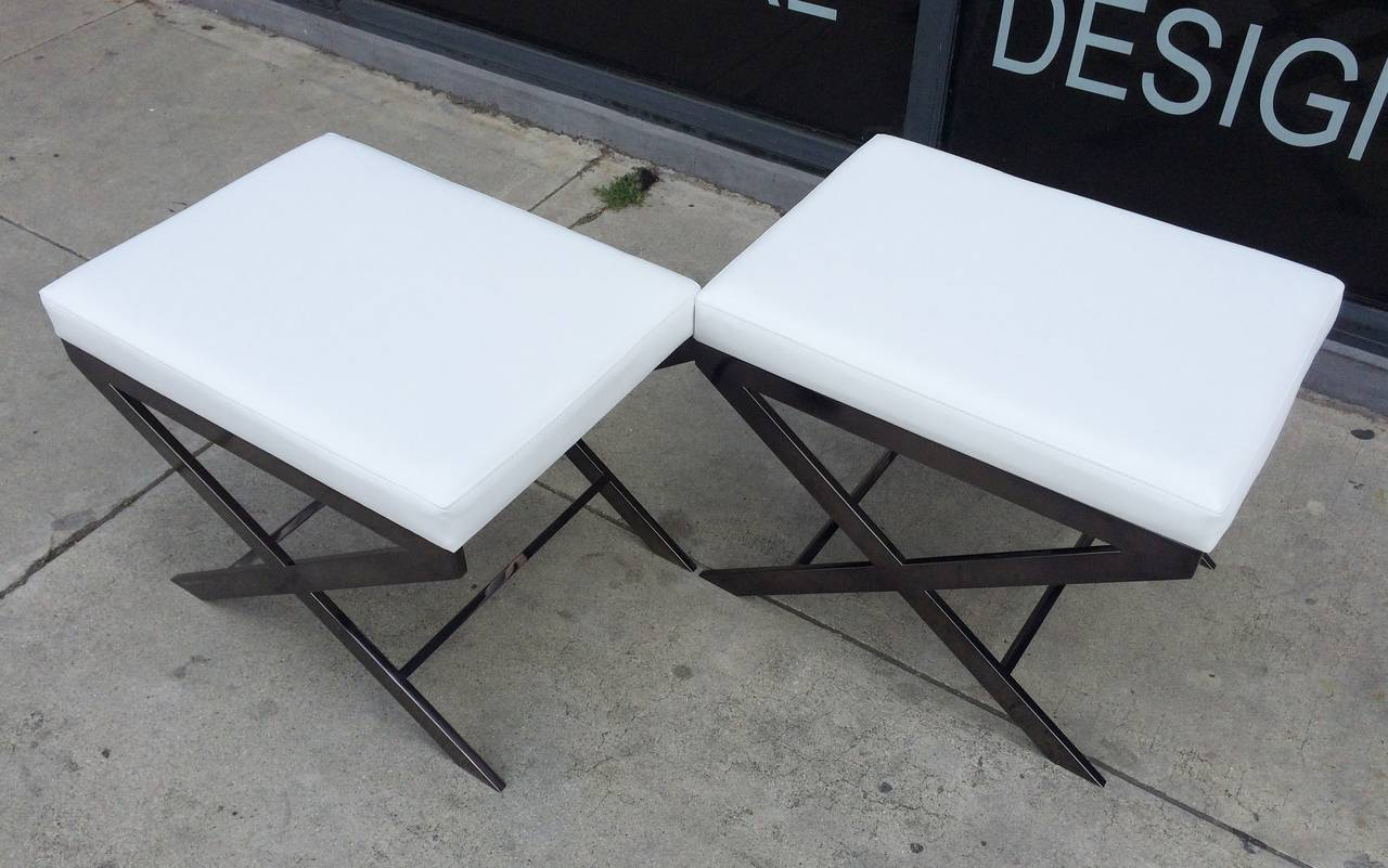 "Blackened Two ""X"" Frame Benches by Charles Hollis Jones in Black Nickel, Signed and Dated For Sale"