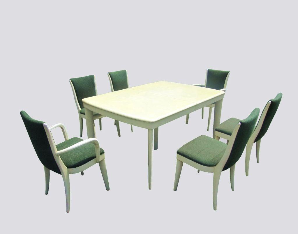 Art Deco Blonde Mahogany Dining Set by Heywood Wakefield 2