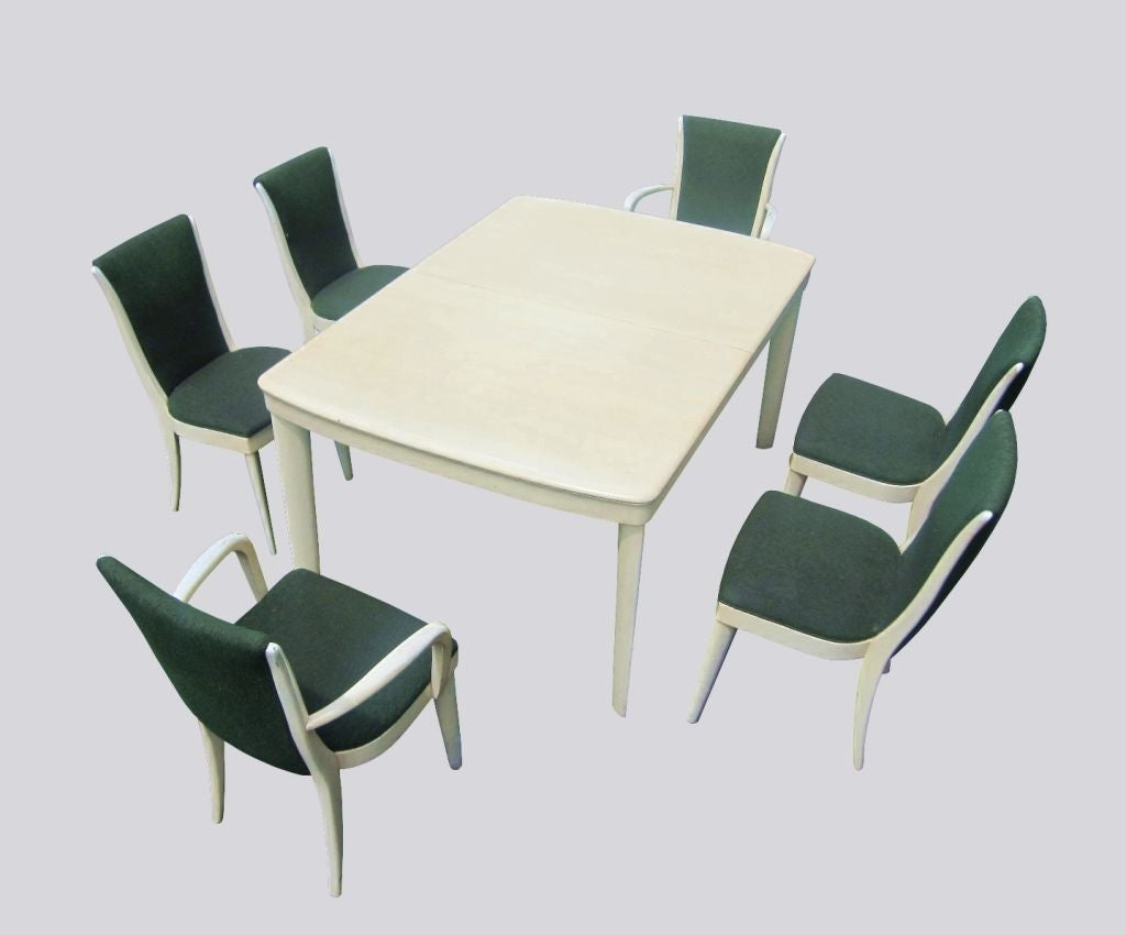 Art Deco Blonde Mahogany Dining Set by Heywood Wakefield 3