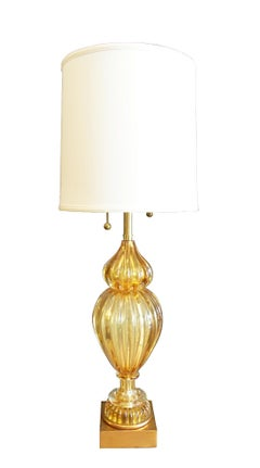 Murano Glass Lamp in Champagne Gold by Marbro Company