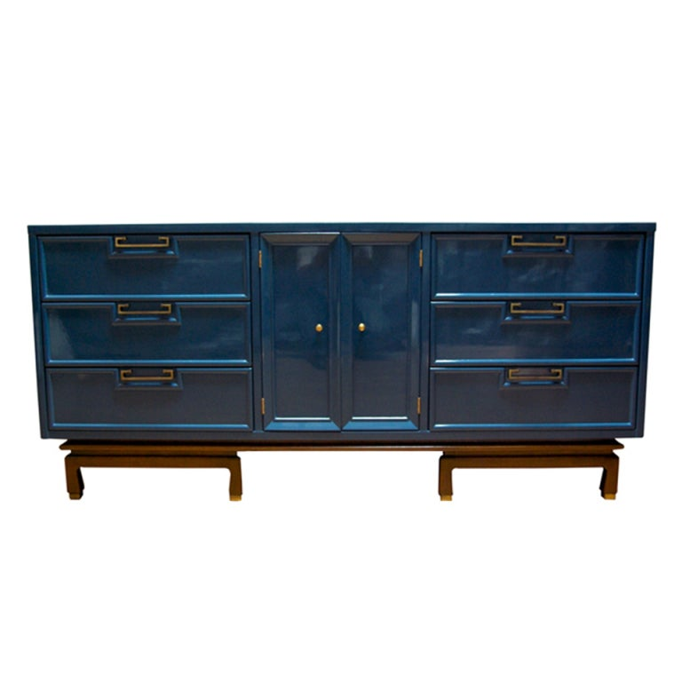American of Martinsville Dresser in Lacquered Teal Color