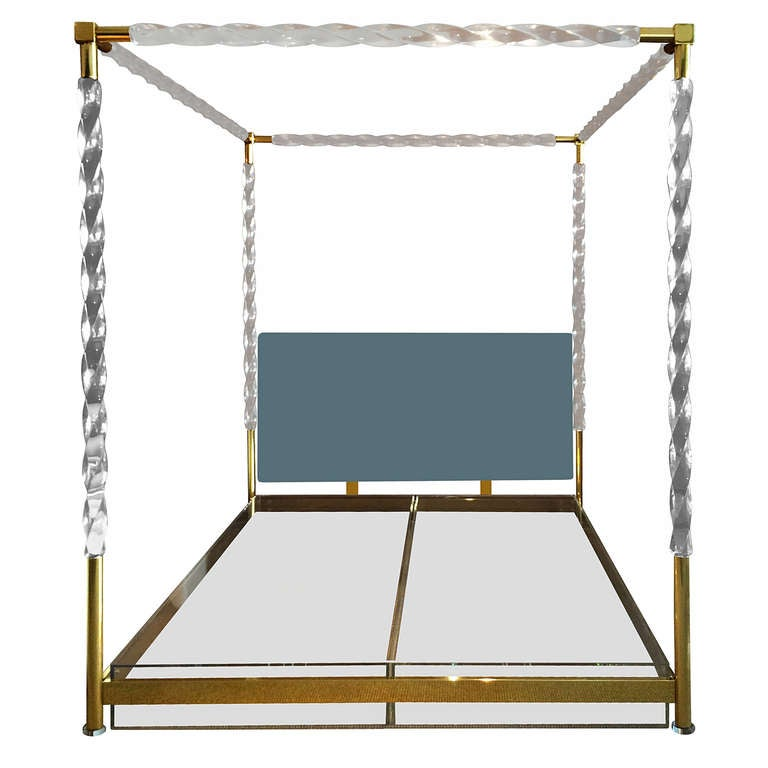 Faceted Lucite and Brass King-Size Bed by Charles Hollis Jones, Signed and Dated For Sale