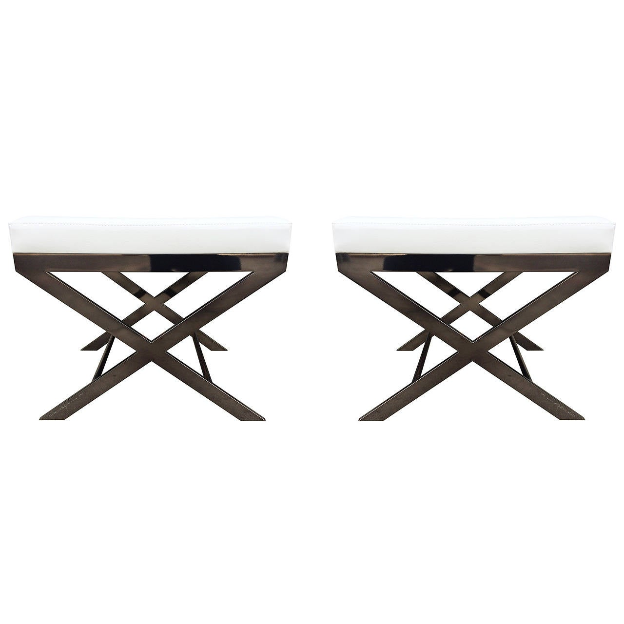 "Two ""X"" Frame Benches by Charles Hollis Jones in Black Nickel, Signed and Dated For Sale"