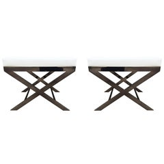 "Two ""X"" Frame Benches by Charles Hollis Jones in Black Nickel, Signed and Dated"
