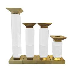 Set of Four Lucite and Brass Candlesholders by Charles Hollis Jones, Signed