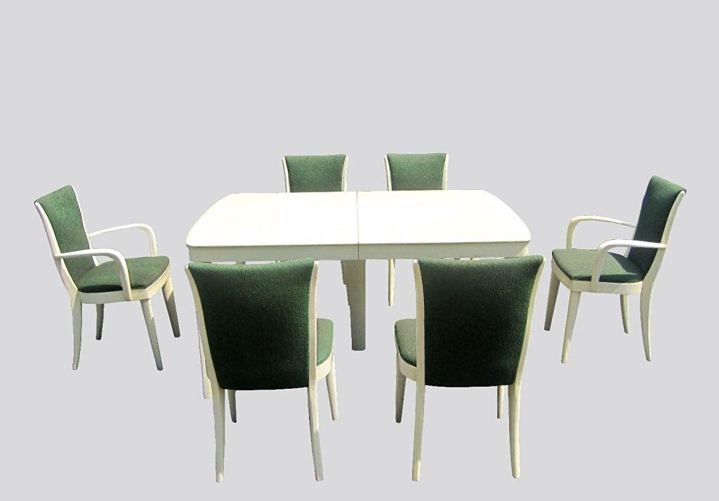 Art Deco Blonde Mahogany Dining Set by Heywood Wakefield 4