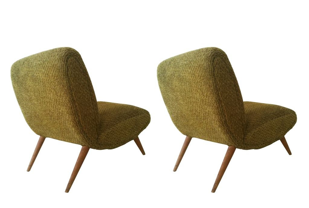 Great Mid Century Modern Pair Of Norman Bel Geddes Armless Lounge Chairs USA 1950s  For Sale