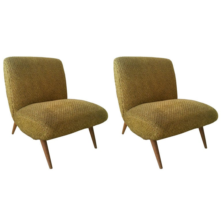 Pair Of Norman Bel Geddes Armless Lounge Chairs USA 1950s 1