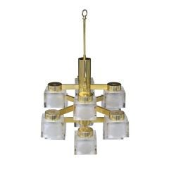 Ice Cube and Brass Twelve-Light Chandelier by Gaetano Sciolari