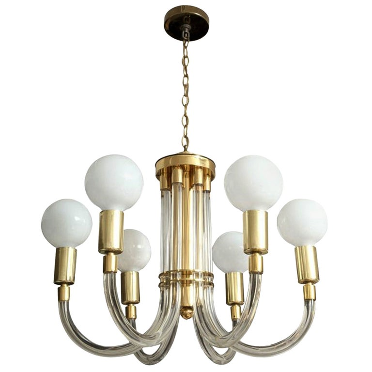 Charles Hollis Jones Six-Arm Chandelier in Brass and Lucite, Signed and Dated For Sale