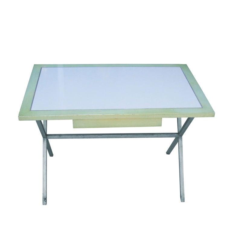 Spencer & Company Regency Desk with Silver Leaf Metal Base For Sale