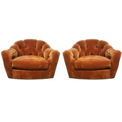 Pair of Vintage Swivel Chairs With Tufted Backs