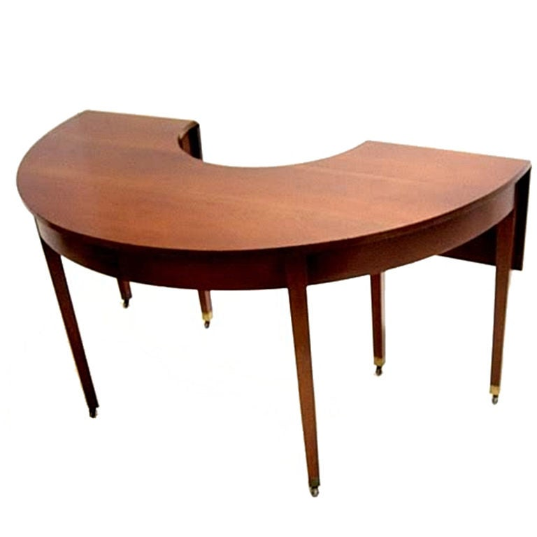Deco Semi Circular Table Solid Walnut And Brass Casters