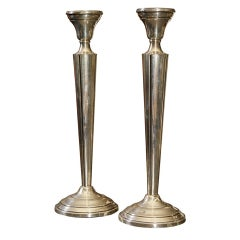 Pair of Neoclassic Style Sterling Silver Candlesticks