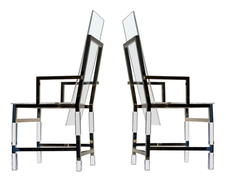 Stunning pair of armchairs by the master of Lucite, Charles Hollis Jones.