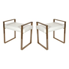 Pair of Brass Benches by Charles Hollis Jones #HR-84, Signed