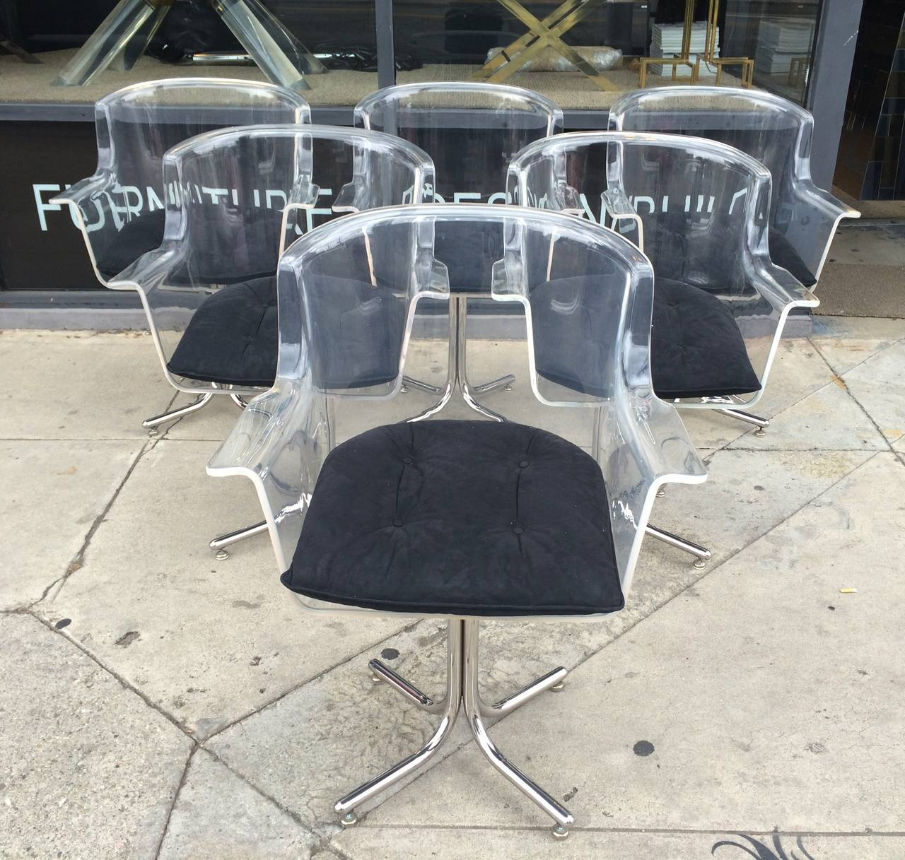 American Set of Six Lucite and Chrome Chairs by Leon Rosen for Pace Collection For Sale