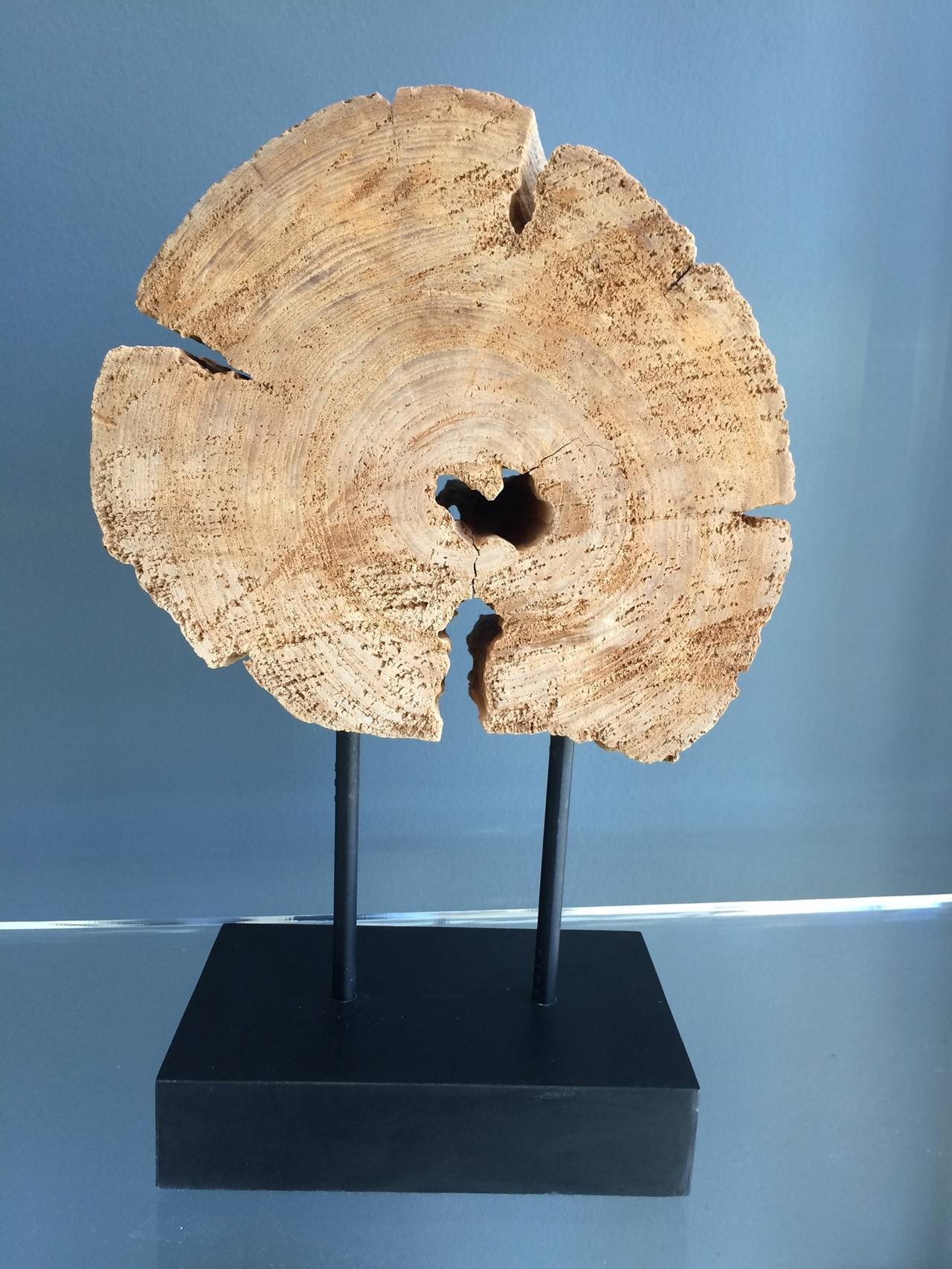 Stunning Wood Sculpture On A Metal Stand For Sale At 1stdibs