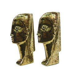1960's Male & Female Egyptian Busts Marked IRIS for Harris Co.,