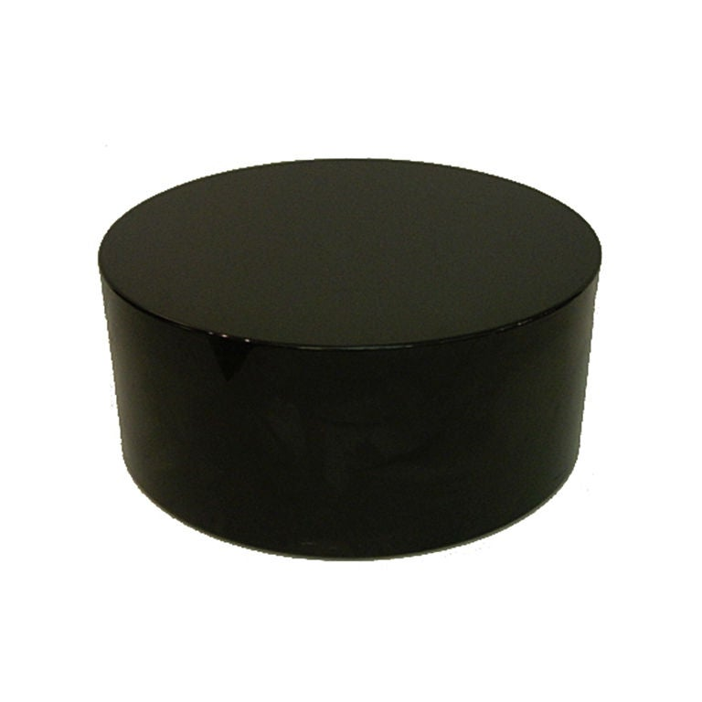 Vintage Drum Coffee Table In Black Lacquer At 1stdibs