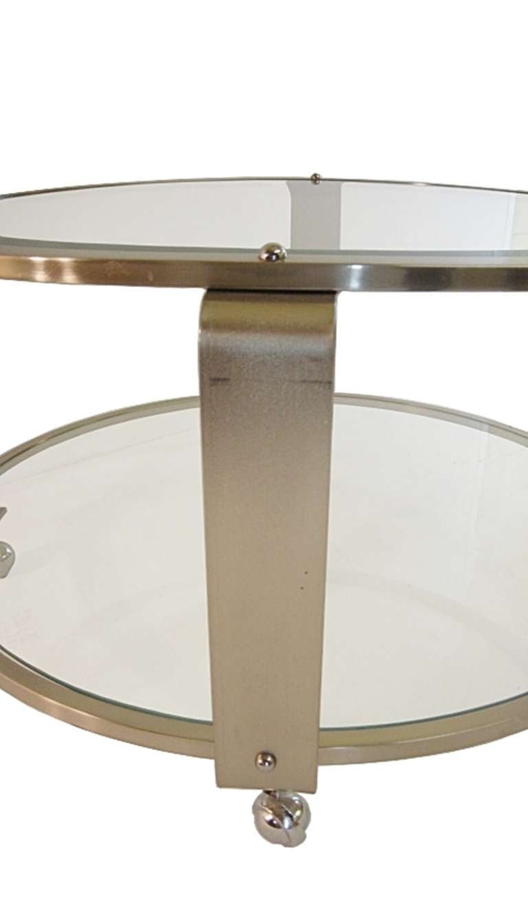 Modern Two Tiered Steel And Glass Coffee Table On Casters