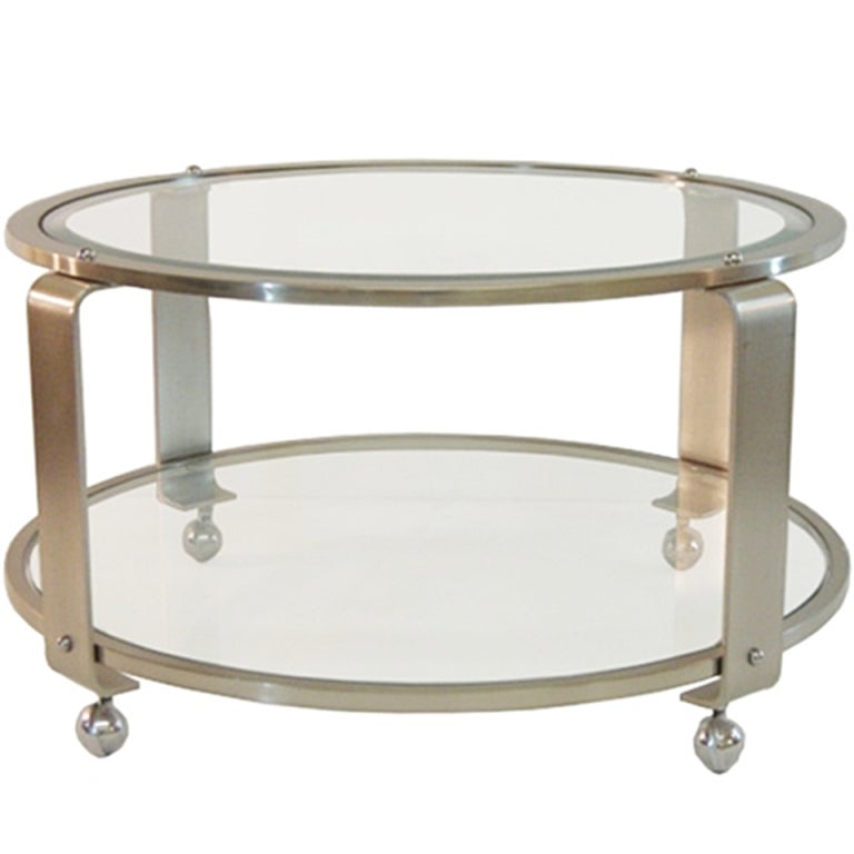 Modern Two-Tiered Steel And Glass Coffee Table On Casters
