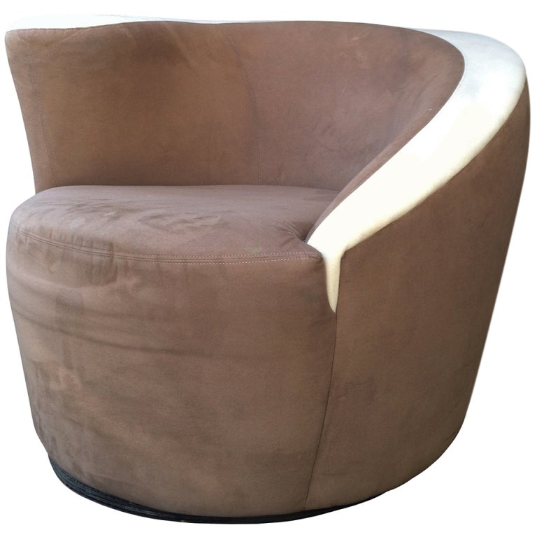 Vladimir Kagan Nautilus Chair in Chocolate Brown Microfiber