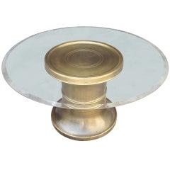 Mastercraft Pedestal Coffee Table in Brass & Glass