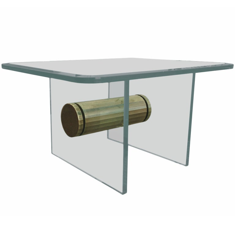 Brass and Glass Side Table with Scalloped Brass Beam by Pace Collection