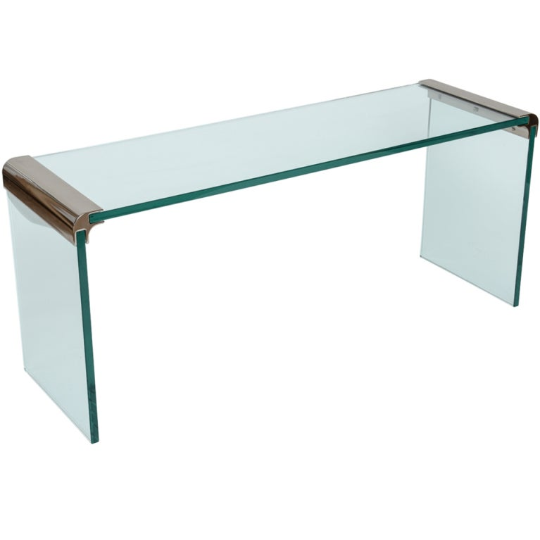 chrome and glass console table by pace collection at 1stdibs