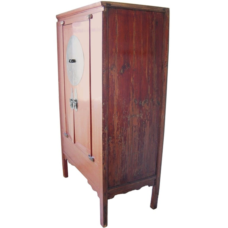 Red lacquer chinese wedding cabinet for sale at 1stdibs for Red chinese furniture