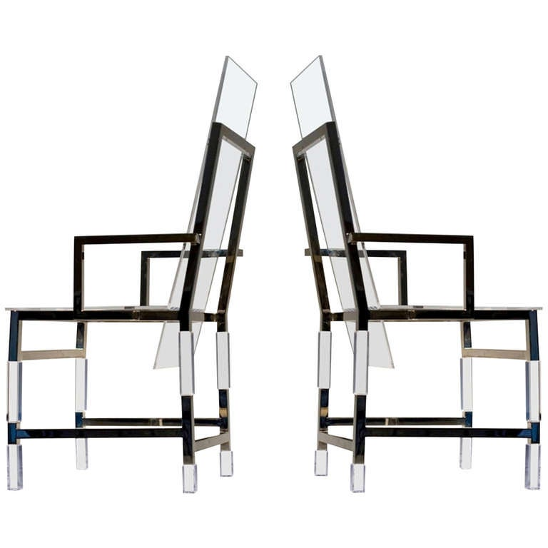 Pair of Charles Hollis Jones High Back Metric Armchairs in Polished Nickel For Sale