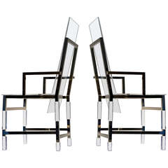 Pair of Charles Hollis Jones High Back Metric Armchairs in Polished Nickel
