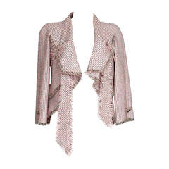 CHANEL 11P Jacket  tweed ribbon unique detail 40 nwt
