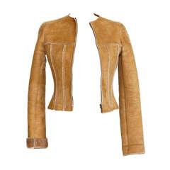 CHANEL 99A jacket short shaped shearling 36 / 4