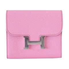 Hermes Constance coveted 5P Pink Epsom wallet New  Rare