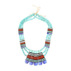 Santo Domingo Inlaid Turquoise Multi-Strand Necklace