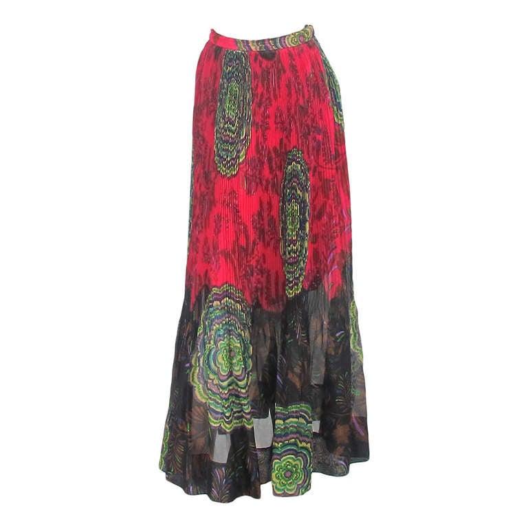 1970s Lanvin silk print organza maxi skirt 1