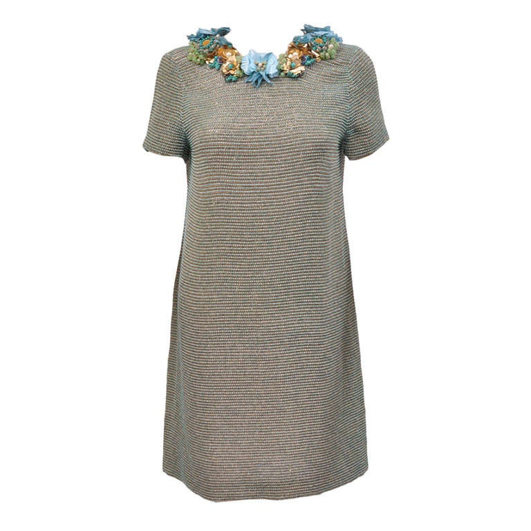 New GUCCI BEADED DRESS WITH FLORAL EMBROIDERY