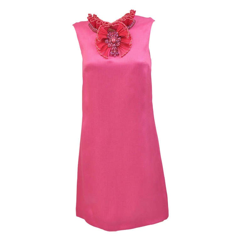 New GUCCI HOT PINK RAFFIA DRESS with FLORAL EMBROIDERY 1