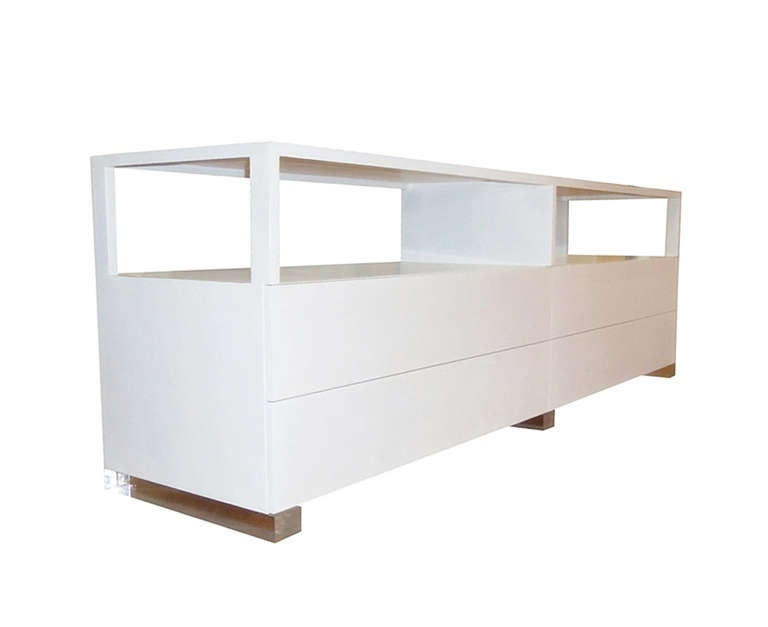 Beautiful long dresser made of solid white oak and Lucite with a milk glass top.  This piece is an original and the only one in existence, it was designed by Interior Designer and Owner of Cain Modern.  The piece has beautiful lines and great
