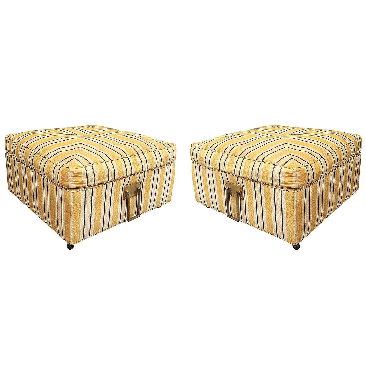 Pair of 1960s Square Ottomans in Casters and Solid Brass Handles